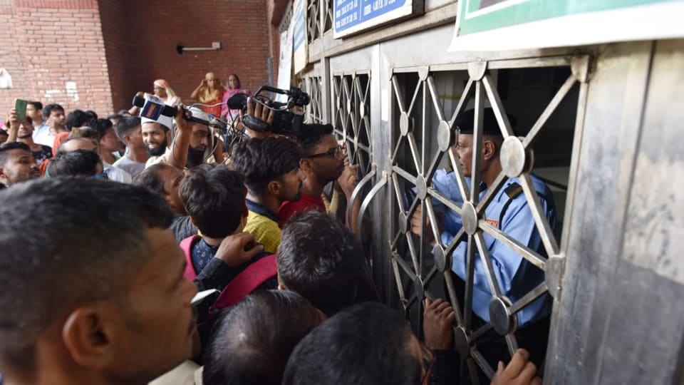 Patients outside a  department at AIIMS as resident and junior doctors are on strike protesting against National Medical Commission (NMC) bill, Thursday August 1,  2019.