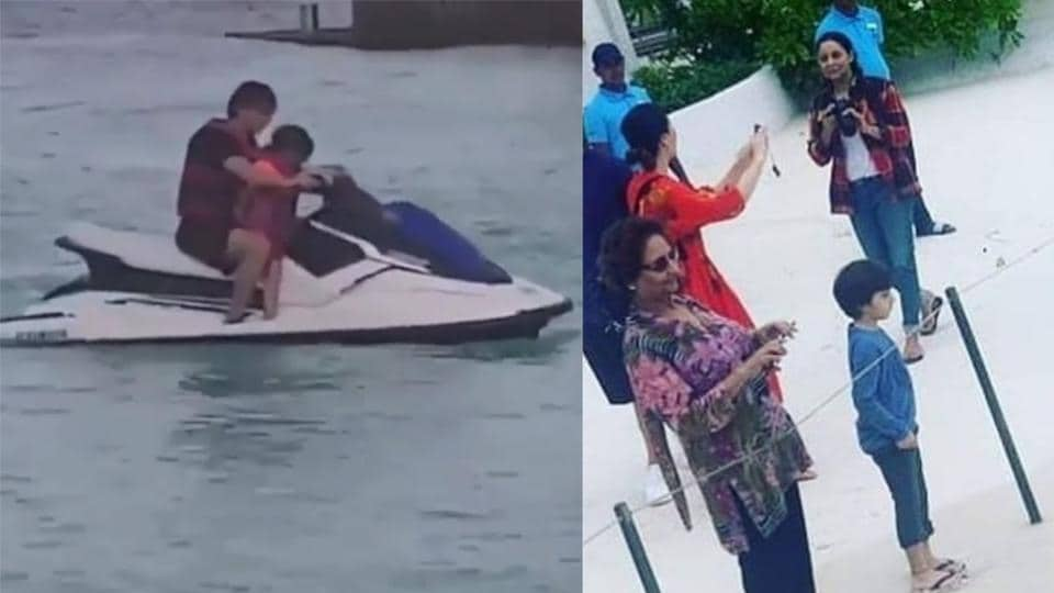 Shah Rukh Khan and son AbRam ride a water-scooter (left) Gauri Khan and AbRam enjoy sights of Maldives (right).