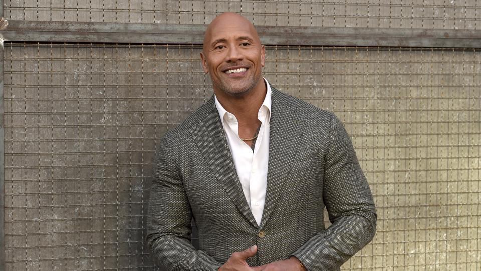 Dwayne Johnson at the world premiere of his film 'Rampage'.