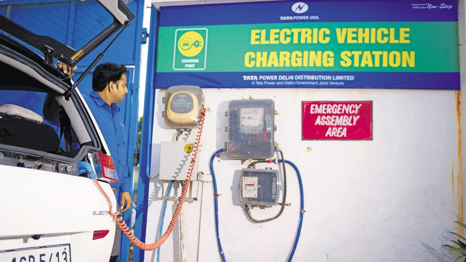 An e-vehicle charging station in New Delhi.