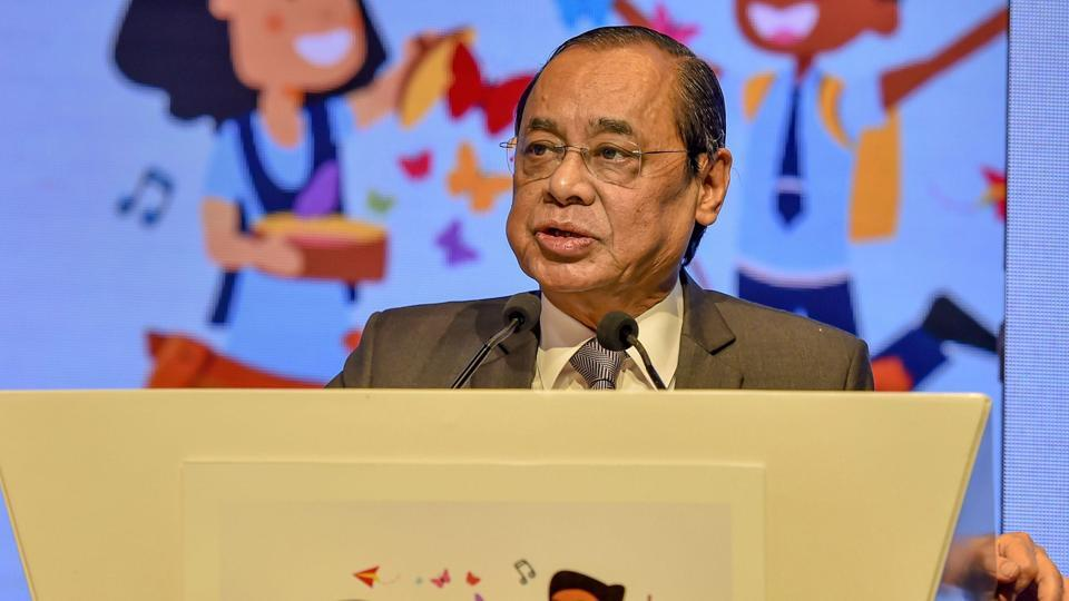 Chief Justice of India Ranjan Gogoi addresses the Happiness Education Conference.