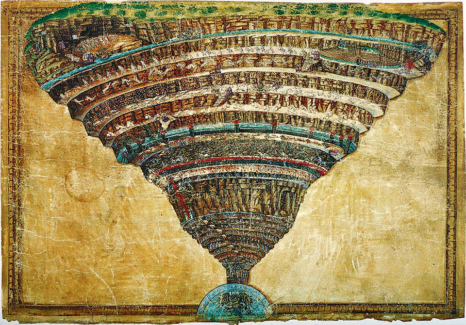 The Abyss of Hell by Sandro Botticelli (1445-1510). This is an illustration to the Divine Comedy by Dante Alighieri.