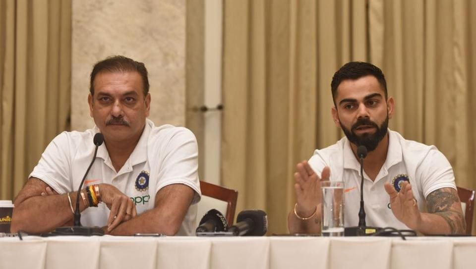Indian Caption Virat Kohli and head coach Ravi Shastri during press conference before West Indies tour.