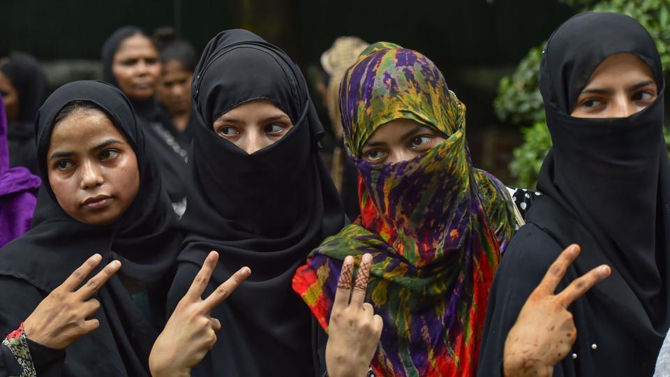Muslim women celebrate the passage of Triple Talaq Bill in the Rajya Sabha on July 31.