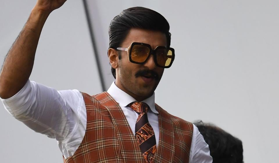 Ranveer Singh poses as he watches a match between India and Pakistan at Old Trafford in Manchester, northwest England during the 2019 Cricket World Cup.
