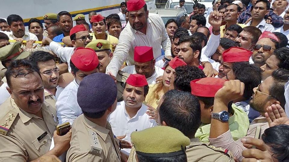 Police detained Samajwadi Party leader Dharmendra Yadav and his supporters while they were entering Rampur, Thursday, Aug 1, 2019, to protest against the arrest of the party MLA Abdullah Azam Khan.