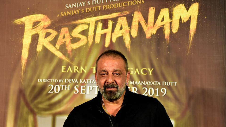 Sanjay Dutt during his 60th birthday celebrations at thee launch of Prasthanam in Mumbai on July 29.