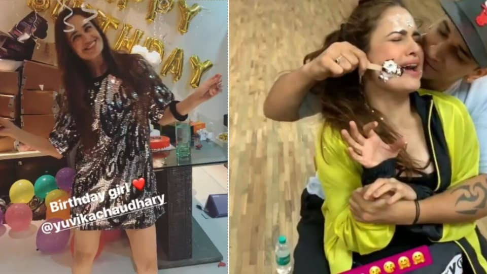 Yuvika Chaudhary celebrated her birthday with cakes and balloons.