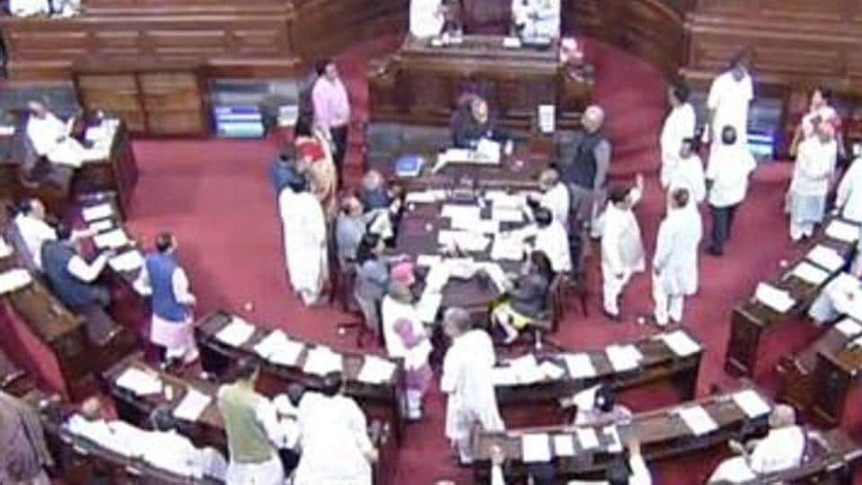 A view of the Rajya Sabha, in New Delhi on Tuesday. The resignation has reduced the strength of Samajwadi Party in the House to 11.