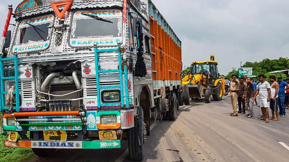 Accident site where the Unnao rape survivor was injured after the car in which she was travelling collided with a truck, near Raebareli on July 28, 2019.