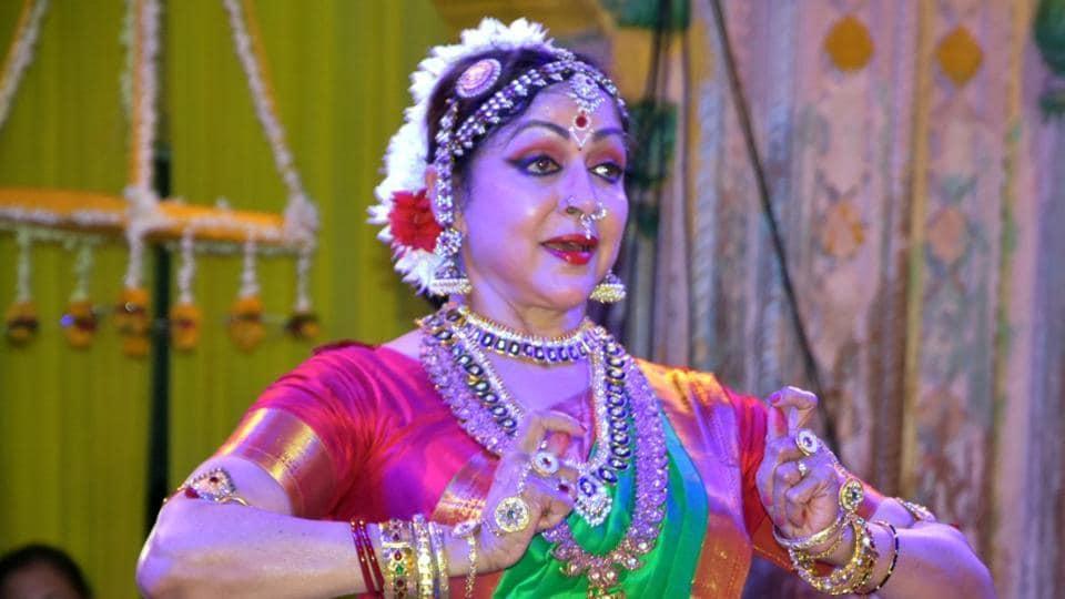 Actress turned politician Hema Malini performs at Radha Raman Temple in Vrindavan on Aug 2, 2019. (Photo: IANS)
