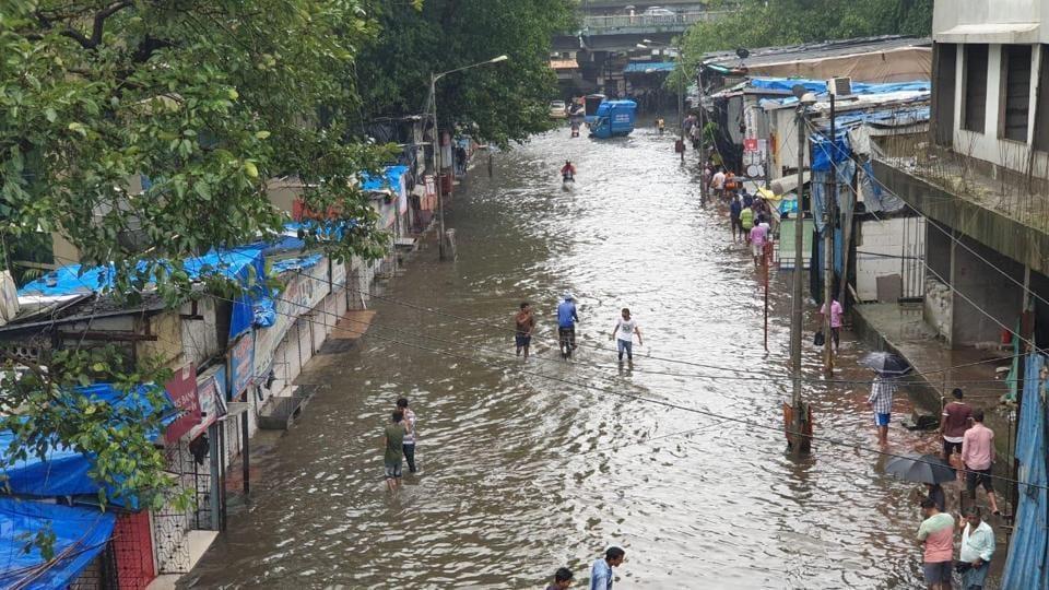 Waterlogging at Postal colony in Chembur as heavy rains continue to lash Mumbai.