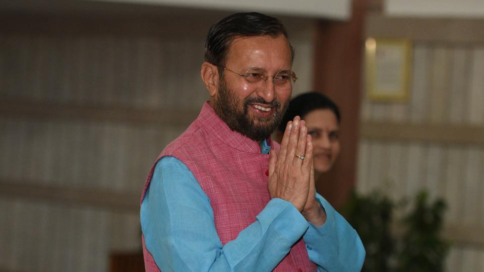 New Delhi, India - July 30, 2019: Minister of Information and Broadcasting Prakash Javadekar arrives to attend the BJP Parliamentary meeting, at Parliament library, in New Delhi