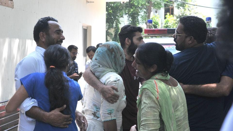 The inconsolable family members of Sukhwinder Singh, who was shot dead in a brawl outside Walking Street club in Mohali on Sunday.