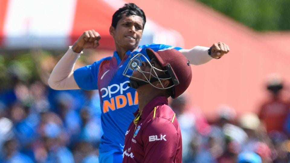 Shimron Hetmyer (R) of West Indies bowled by Navdeep Saini (L) of India. (AFP)
