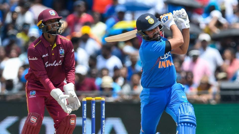 Rohit Sharma plays a shot against West Indies.