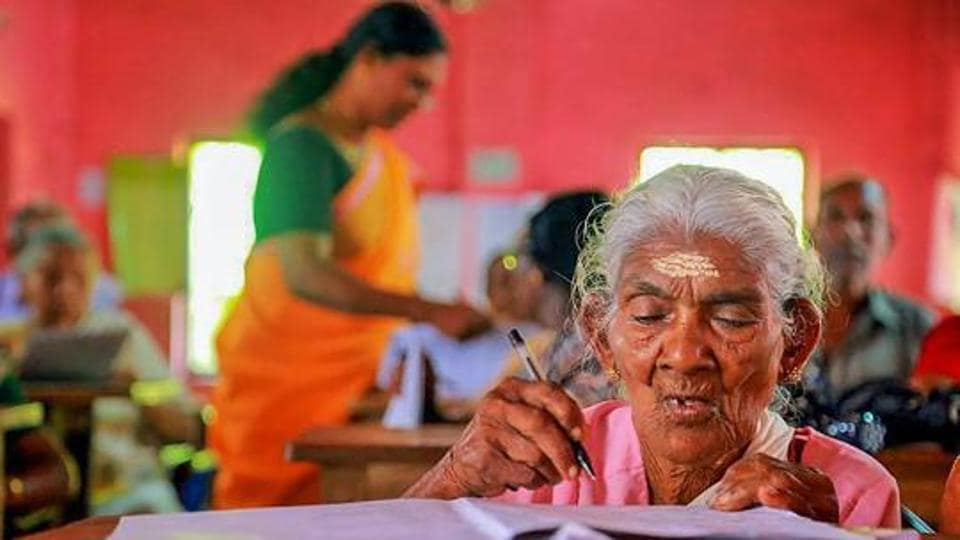 Karthyayini Amma, 96-year-old, a native of Alappuzha, appears for the Kerala State Literacy Mission Authority's in 2018
