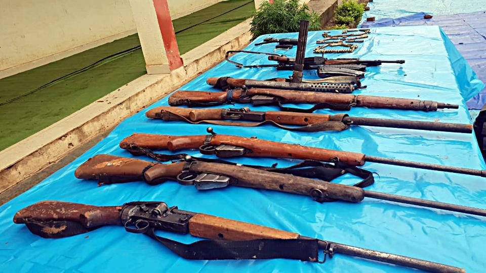 Arms recovered from Naxalite after seven Naxals, including five women, were killed in an encounter with the District Reserve Guard in the Sitagota jungle area of Rajnandgaon in Chhattisgarh on Saturday.