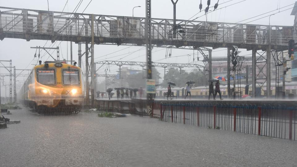 Thane, India - August.03,2019:After heavy Rain in The Thane city Water Logging on Railway track at Thane railway Station Thane ,India, on Saturday, August 03, 2019. ( )