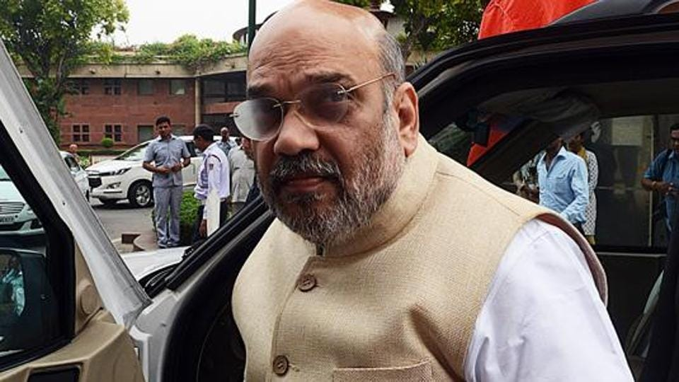 Union Home Minister Amit Shah arrives at the Parliament during the Budget session in New Delhi on Wednesday