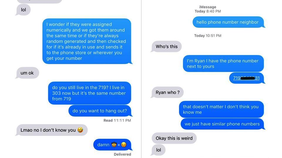 Screenshot of the texting between the Twitter user and his 'number neighbour'