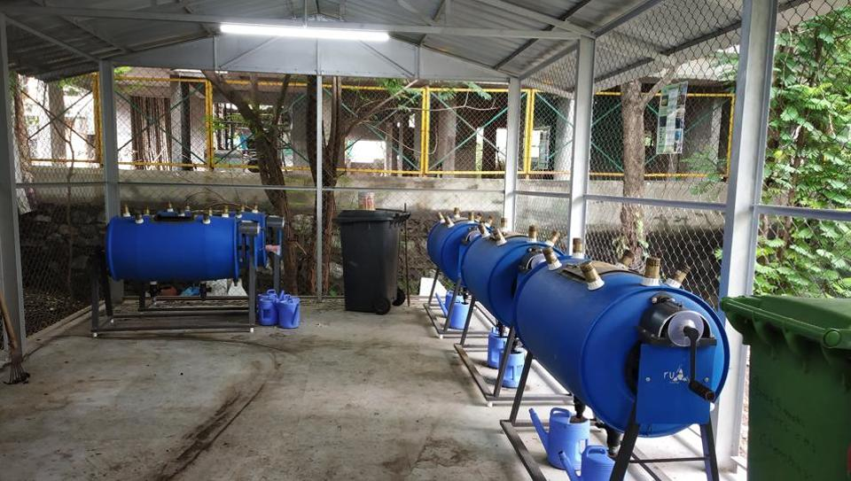 The bio-composter machines installed at Green Garden Apartments in Shivneri Nagar, Govandi (East) are used to convert 50kg of organic waste into nutrient-rich manure.