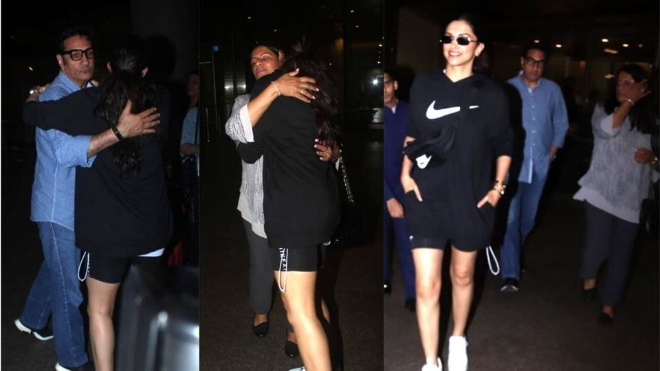 Deepika Padukone with in-laws at the Mumbai airport.