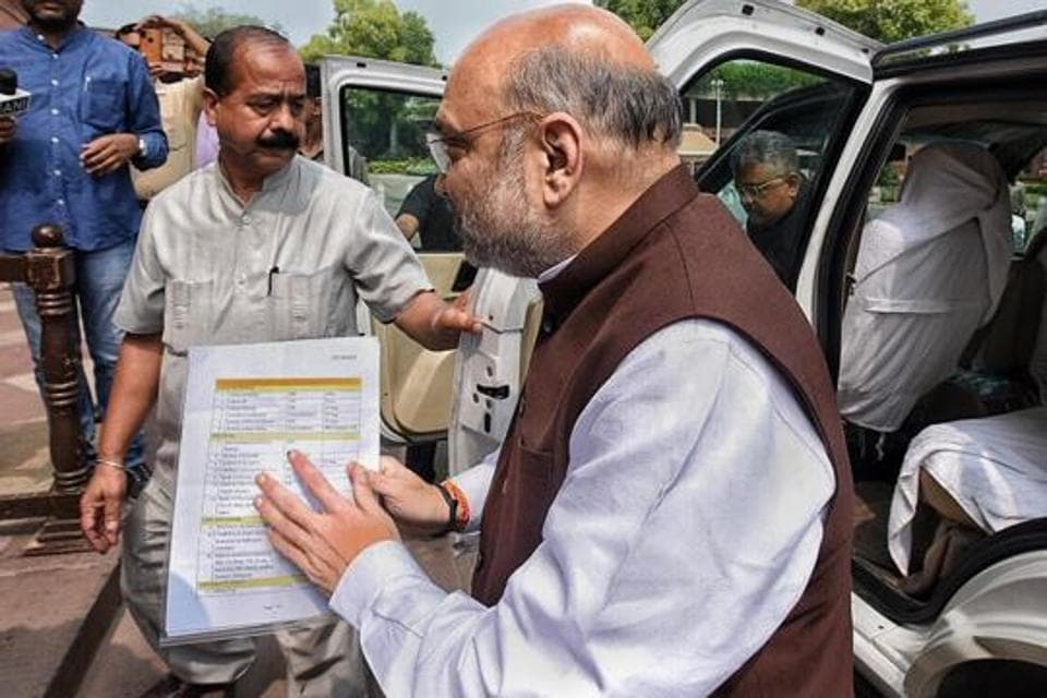 Union home minister Amit Shah arriving in Parliament on August 5.