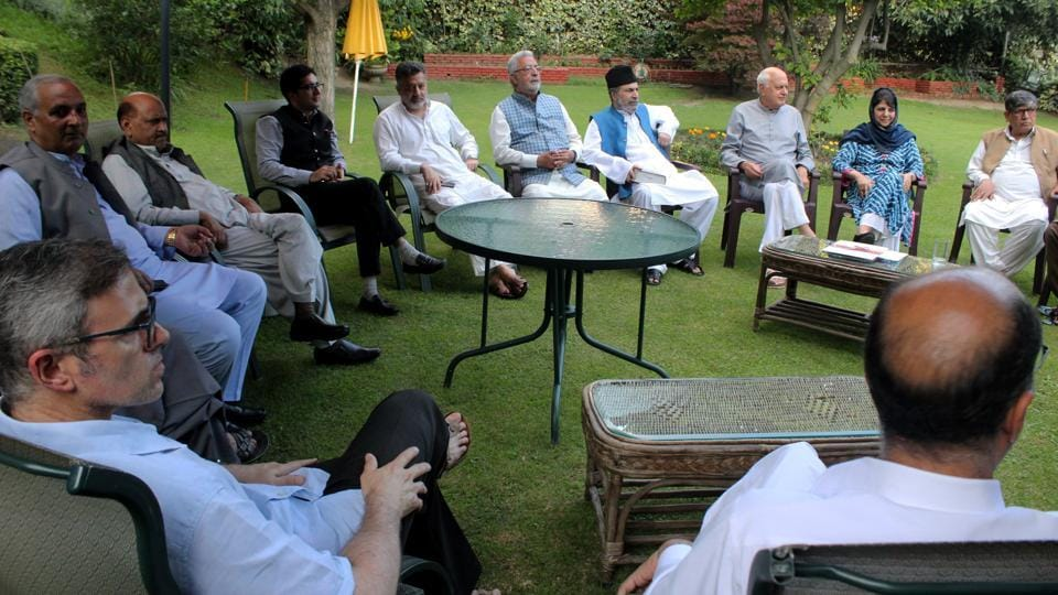 National Conference President Farooq Abdullah, PDP President and former chief minister Mehbooba Mufti and other leaders during an all party meeting regarding the current situation in Kashmir, as tensions in Jammu and Kashmir continue to deepen. (PTI)