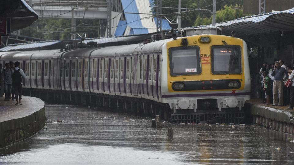 Mumbai railway system affected due to heavy rainfall.