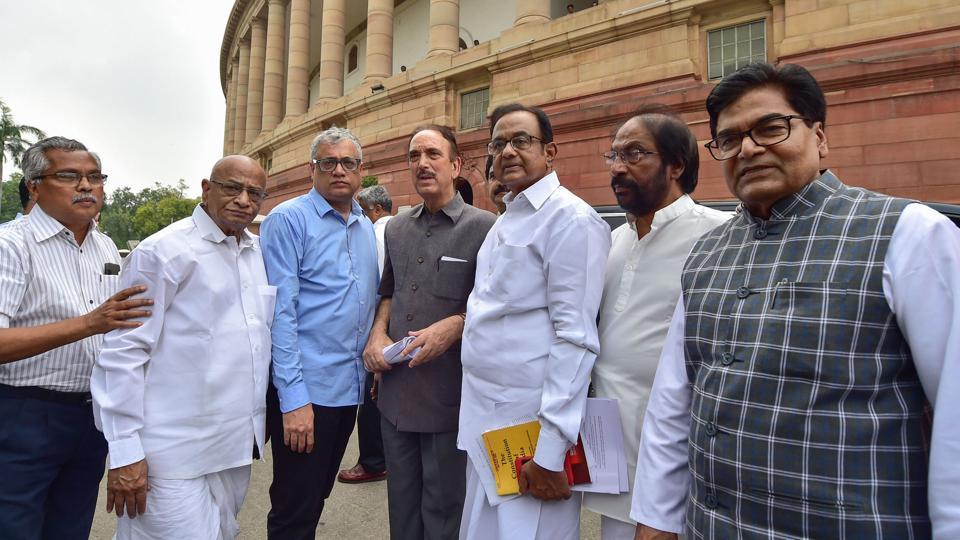 Senior Congress leader Gulam Nabi Azad, P Chidambaram, TMC leader Derek O'Brien, SP MP Ram Gopal Yadav and others following a media address after the Union Home Minister Amit Shah moved a resolution to remove Article 370 in the state of Jammu and Kashmir, in the Parliament during the Budget Session, in New Delhi, on Aug 05, 2019.