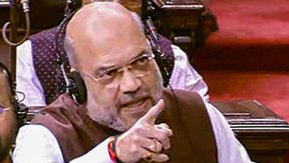 Union Home Minister Amit Shah speaks in the Rajya Sabha.