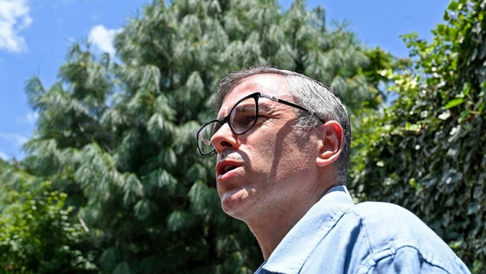 "Former Chief Minister of Jammu and Kashmir Omar Abdullah during a press conference in Srinagar on August 03. Indian authorities asked tourists to leave Kashmir because of ""terror threats"", as media reports said 25,000 military reinforcements had been sent to the troubled Himalayan region. (Tauseef Mustafa / AFP)"
