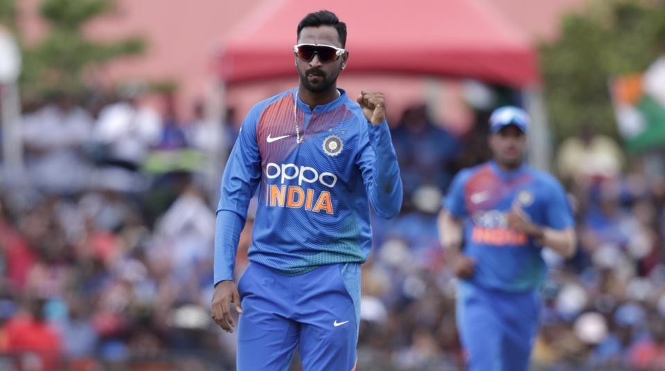 India's Krunal Panda reacts after Manish Pandey caught West Indies' Nicholas Pooran during the second Twenty20 international cricket match, Sunday, Aug. 4, 2019, in Lauderhill, Fla.