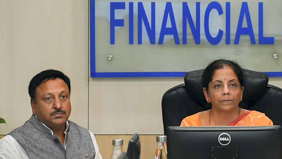 Finance MinisterNirmala Sitharaman, Finance SecretaryRajiv Kumar during a meeting with Chairman, MD and CEOs of public sector banks (PSBs) at Jeevan Deep building, in New Delhi, Aug 05, 2019.