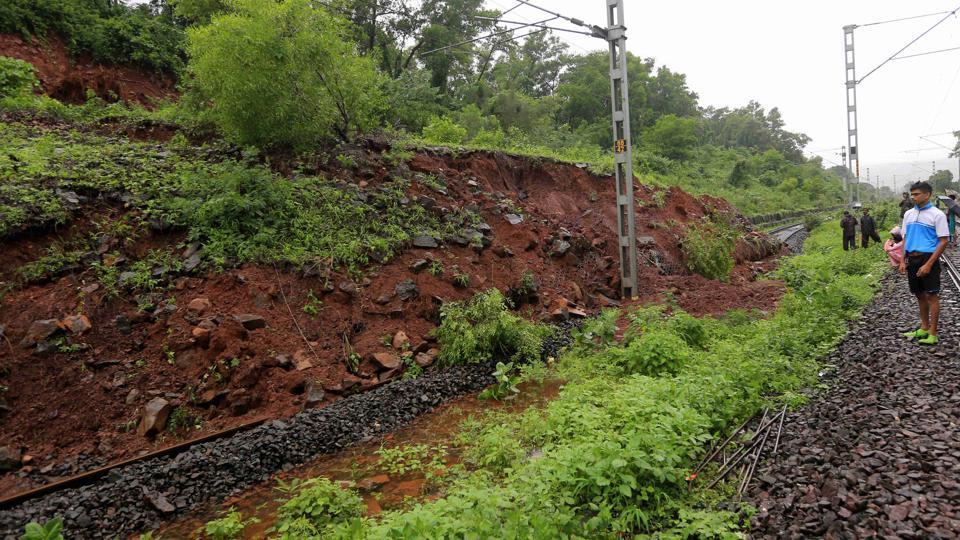A landslide near Raigad district, a major train tragedy averted in Mumbai.