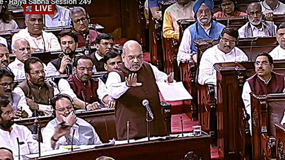 Union Home Minister Amit Shah speaks during the debate over Jammu and Kashmir Reorganisation Bill at Rajya Sabha in New Delhi on Monday.
