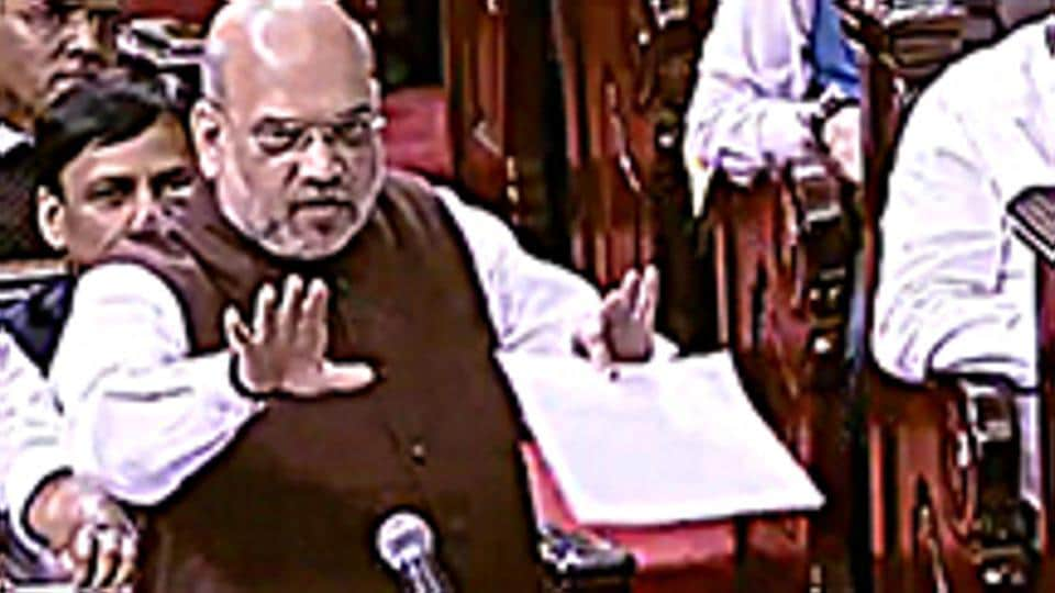 New Delhi, August 05 (ANI Photo): Union Home Minister Amit Shah speaks during the debate over Jammu and Kashmir Reorganisation Bill at Rajya Sabha in New Delhi on Monday.