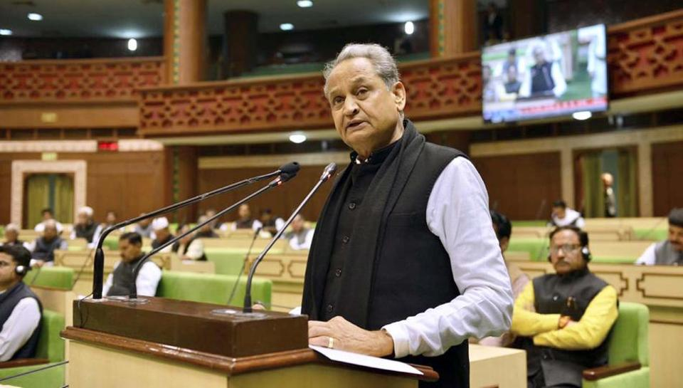 File photo of Rajasthan Chief Minister Ashok Gehlot  at the legislative  assembly.