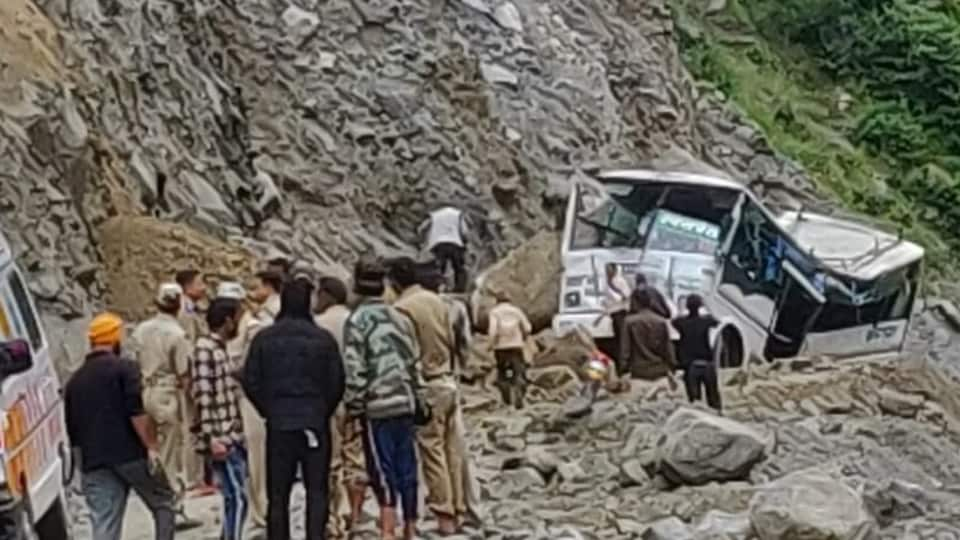 The bus was passing through the landslide-prone Lambagad area in Uttarakhand's Chamoli district.