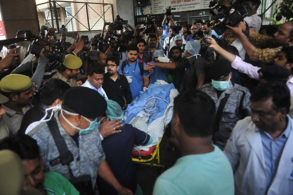Lawyer of Unnao rape victim being taken out of KGMU trauma centre in Lucknow on Tuesday morning.
