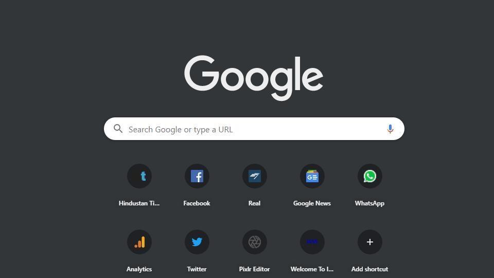 Google Chrome dark mode.
