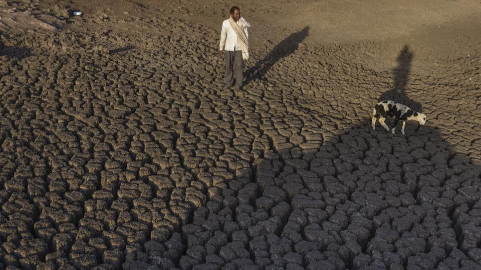 The dried up Bendsura Dam near Bheed in Marathwada. Globally, India is ranked 120 among 122 countries in the world that are facing an acute water crisis.