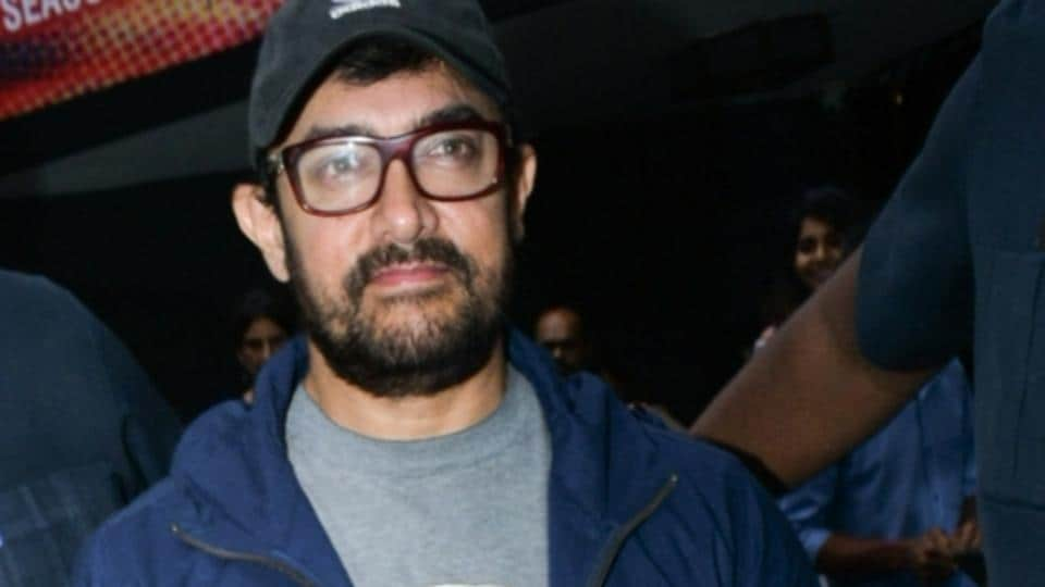 Aamir Khan seen outside a theatre, in Mumbai's Juhu, on May 23, 2019.