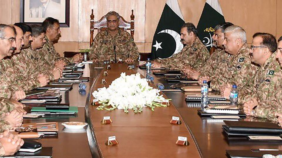 Pakistan  Army Chief General Qamar Javed Bajwa  at a Corps Commanders' Conference in Rawalpindi on Tuesday.