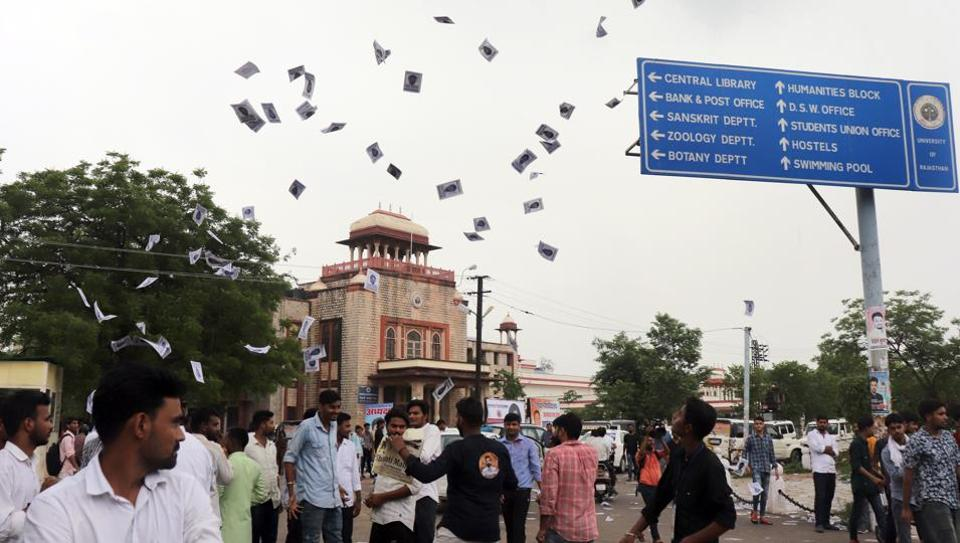 Students campaigning for various candidates for RUSU election, in Jaipur