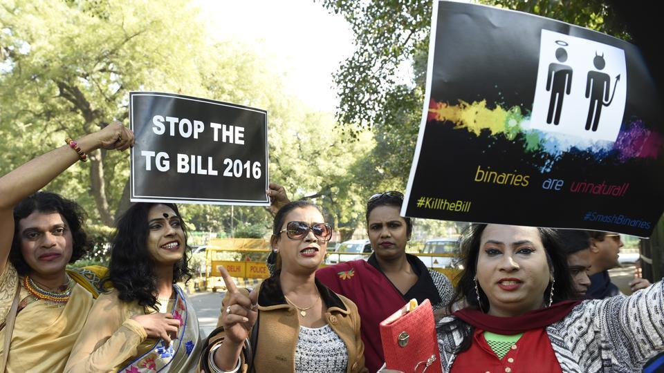 People protested against some of the provisions of the bill like criminalising begging by transgender persons.