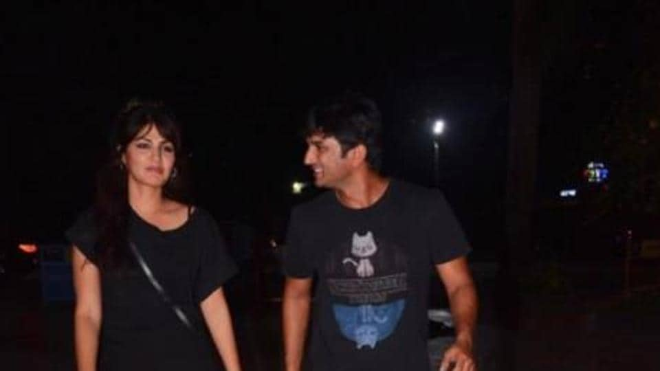 Sushant Singh Rajout and Rhea Chakravorty spotted during a dinner outing in Mumbai.