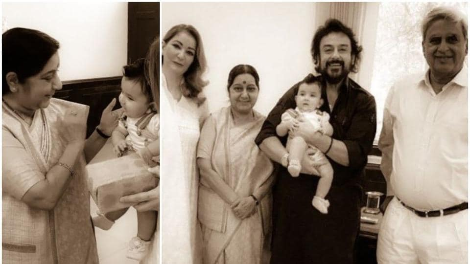 Adnan Sami shared old pictures of his family's meeting withSushma Swaraj.