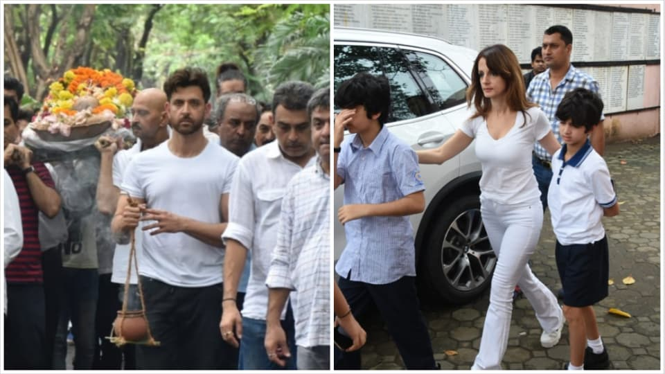 Hrithik Roshan, ex wife Sussanne Khan and their kids at J Om Prakash's funeral.